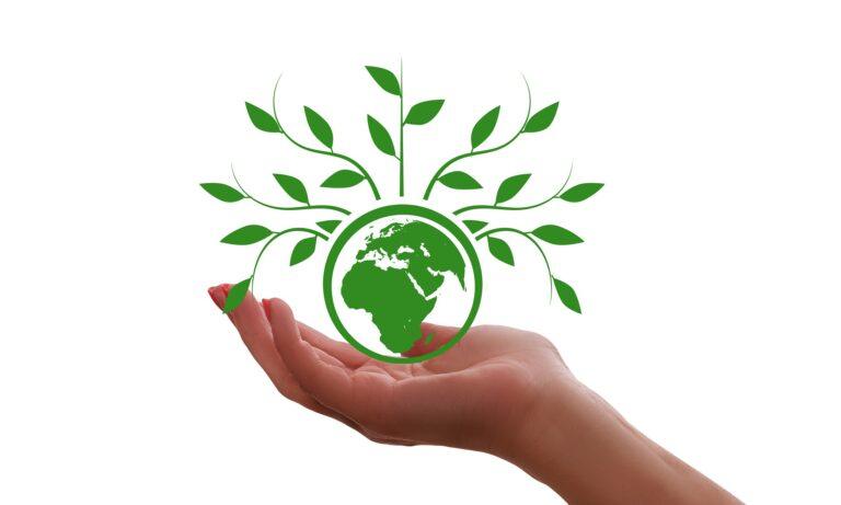 Hand mit Weltkugel, aus der Pflanzen wachsen
